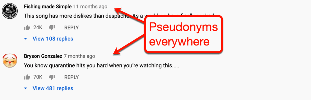 Pseudonyms on YouTube
