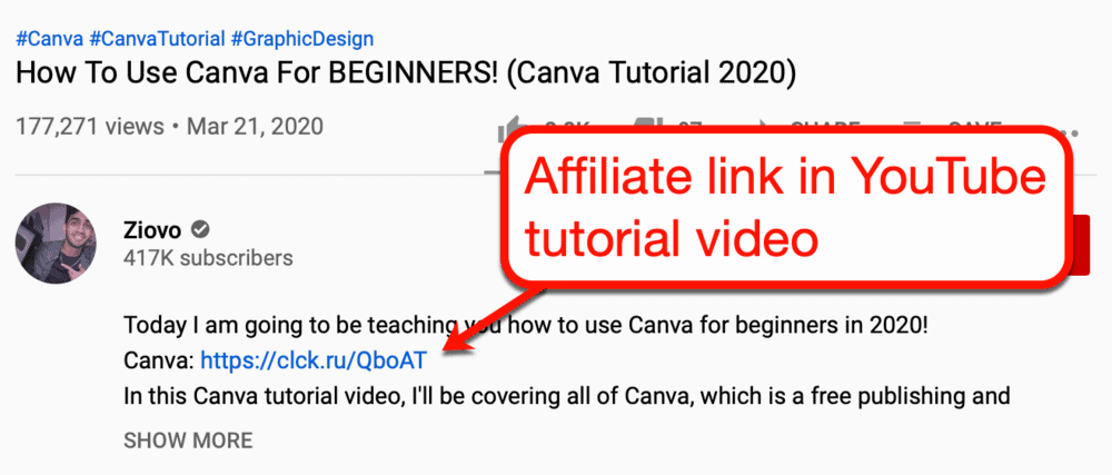 Affiliate link on a YouTube tutorial video