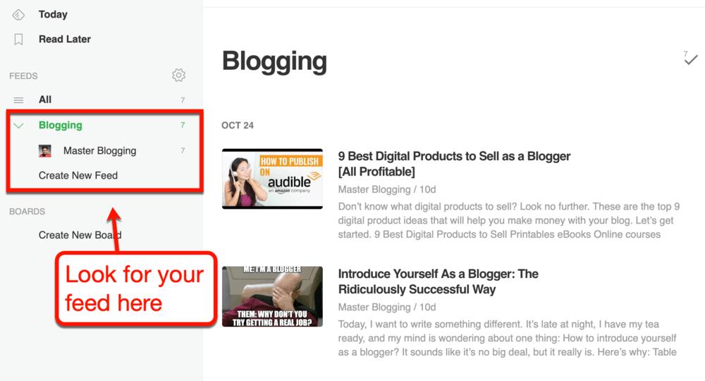 Feedly Blog List