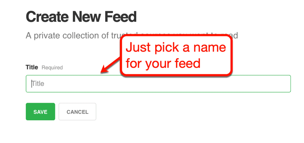 Creating a New Feedly Feed