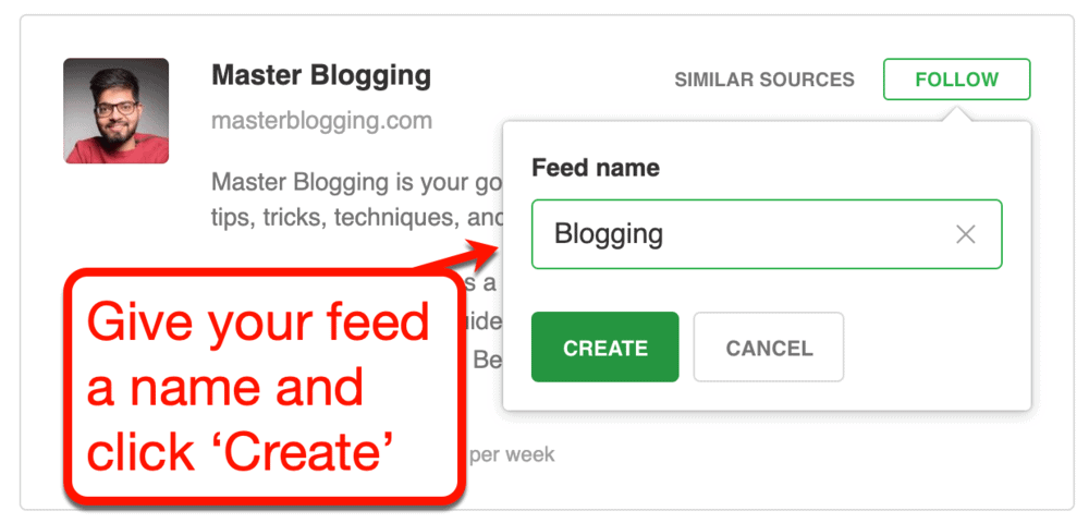 Adding a New Feed on Feedly