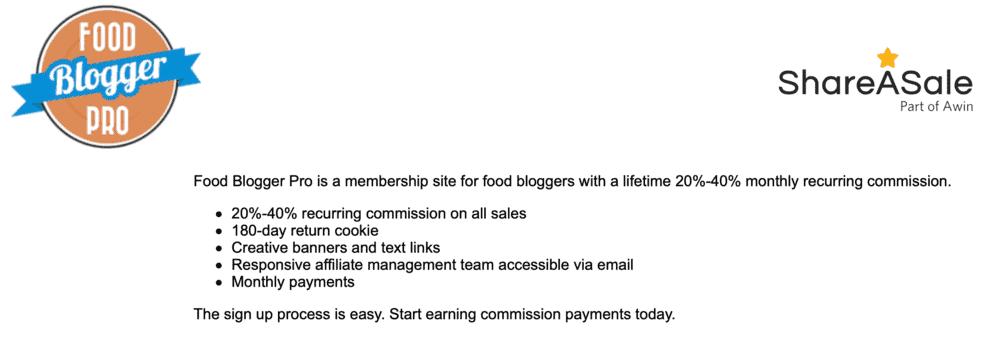 Food Blogger Pro Affiliate Program
