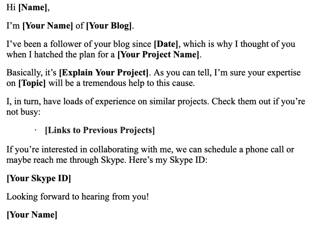 Email Template for Collaborative Project Pitch