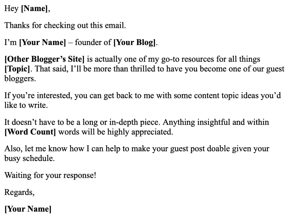 Guest Post Invitiation Email Template
