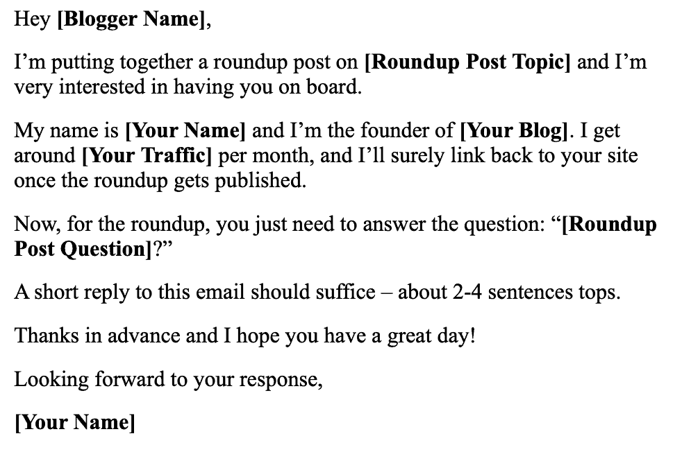 Email Template for Expert Roundup Posts