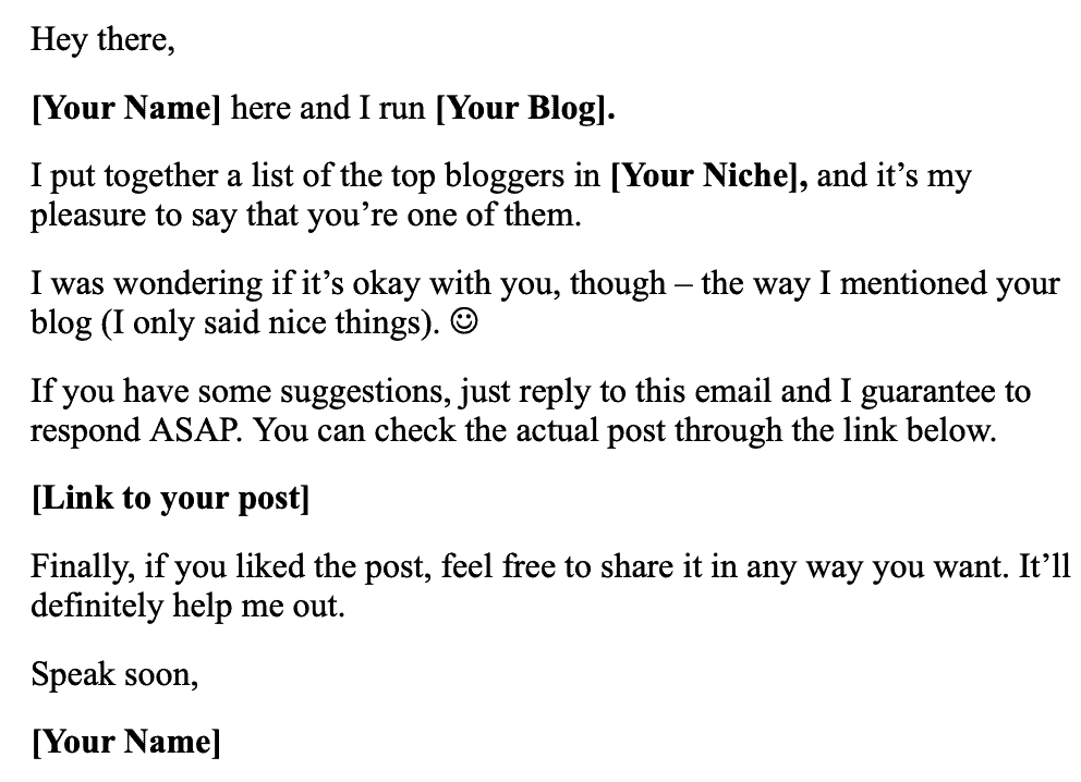 Email Template for Top Bloggers Listicle