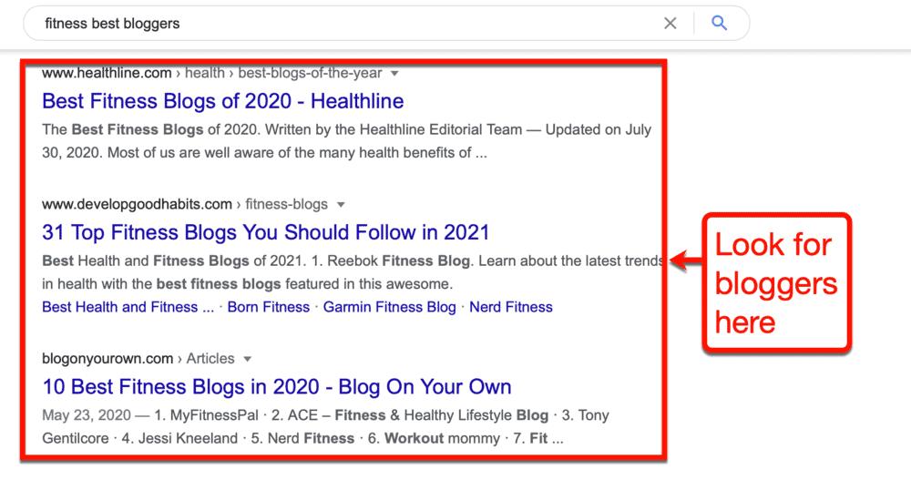 Best Fitness Bloggers on Google