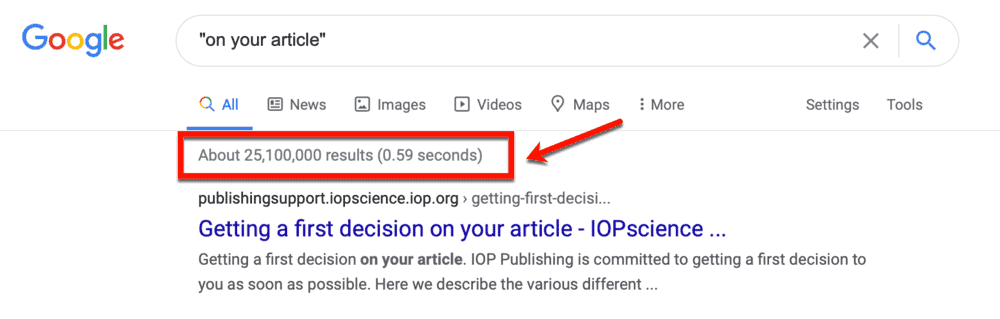 Google Results for On Your Article