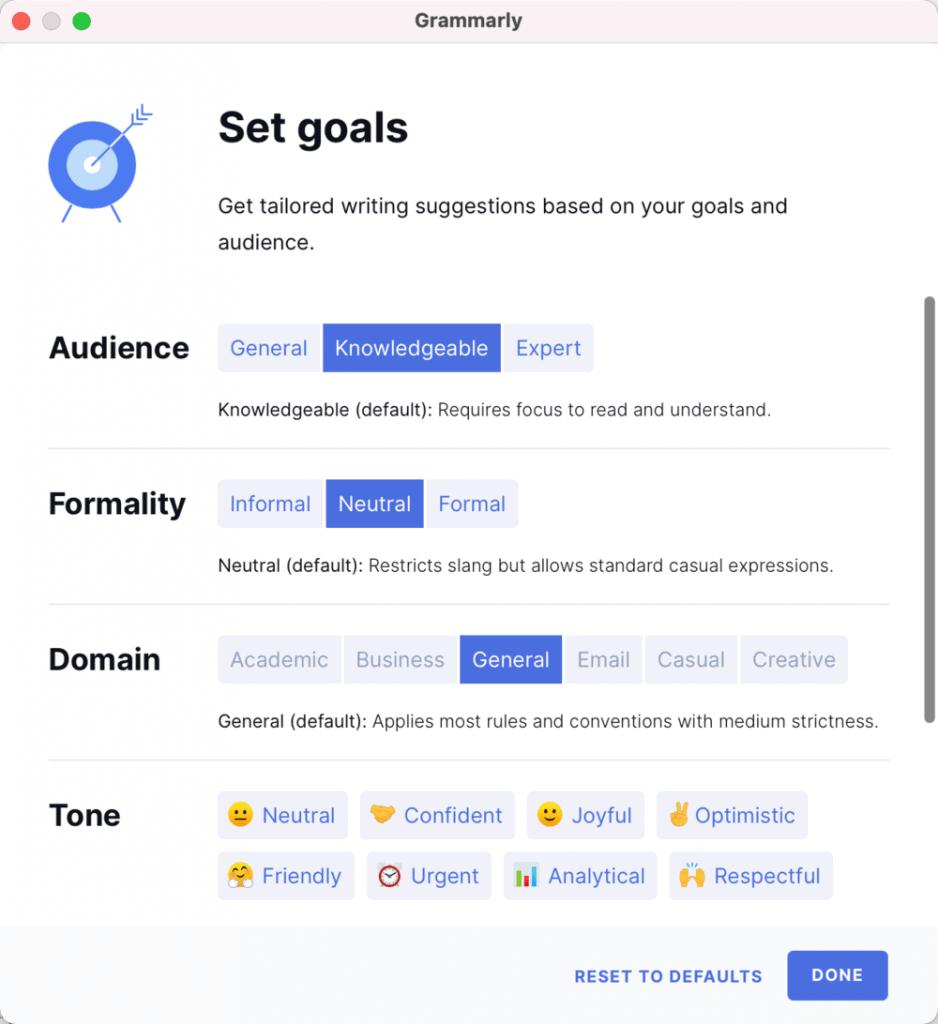 Grammarly Goals