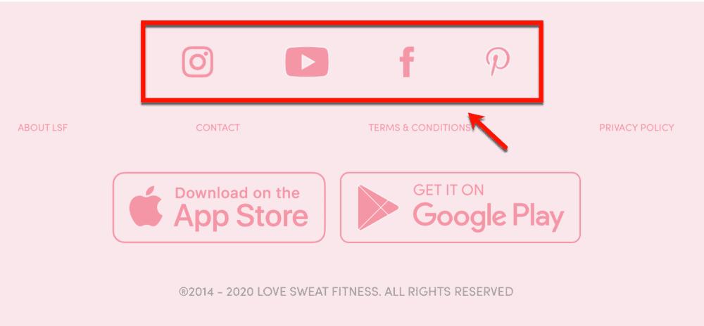 Love Sweat Fitness Social Media Links