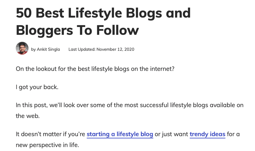 Master Blogging Top Bloggers Listicle Example