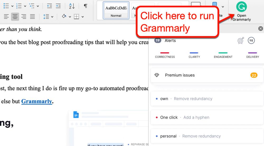 Running Grammarly on Microsoft Word