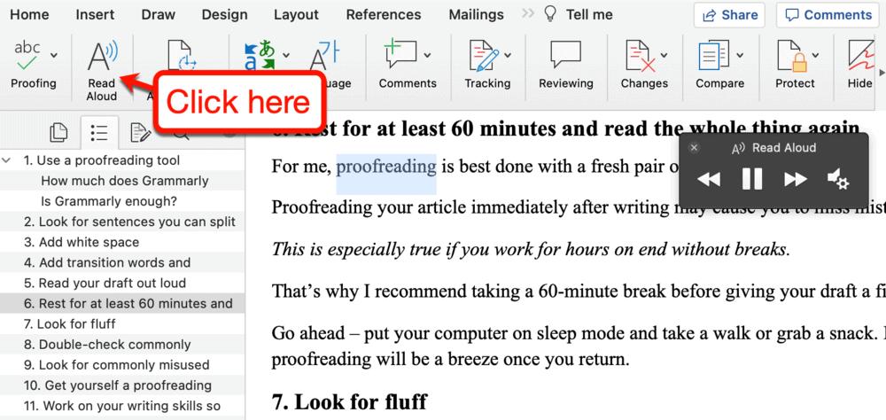 The Read Aloud tool on Microsoft Word