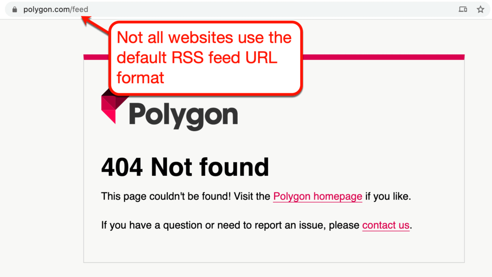 Different RSS link for Polygon
