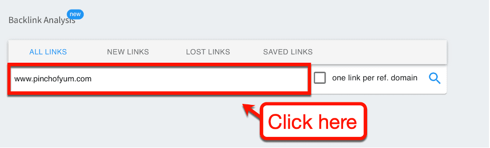 Backlink Analysis Search Page