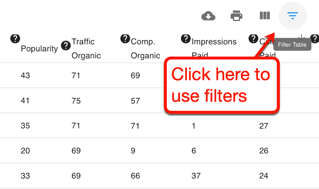 Competitor Site Keyword Filters