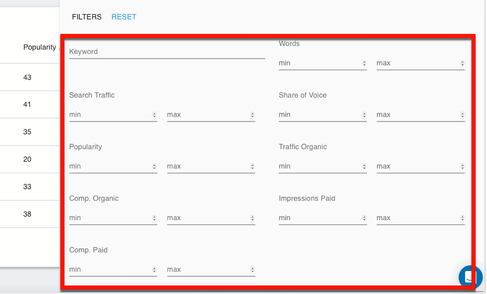 Competitor Keywords Filters