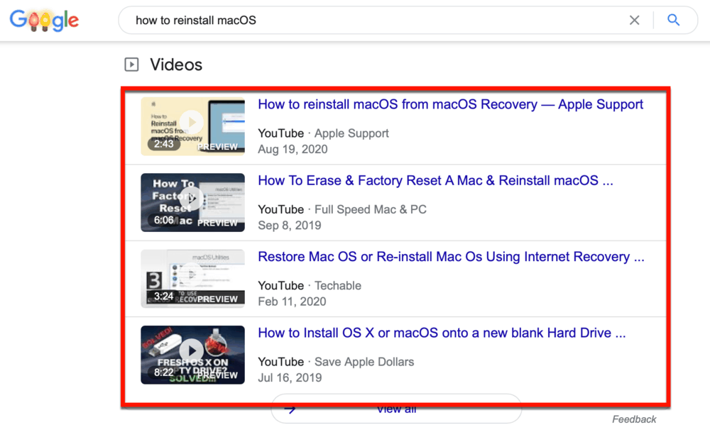 YouTube Video Results on Google