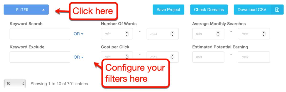 Keyword Filter Options