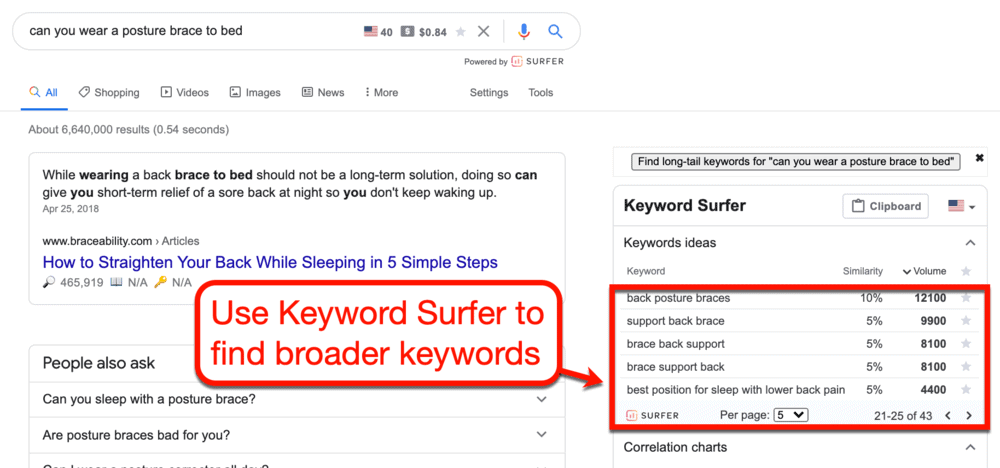 Finding Broader Keywords with Keyword Surfer