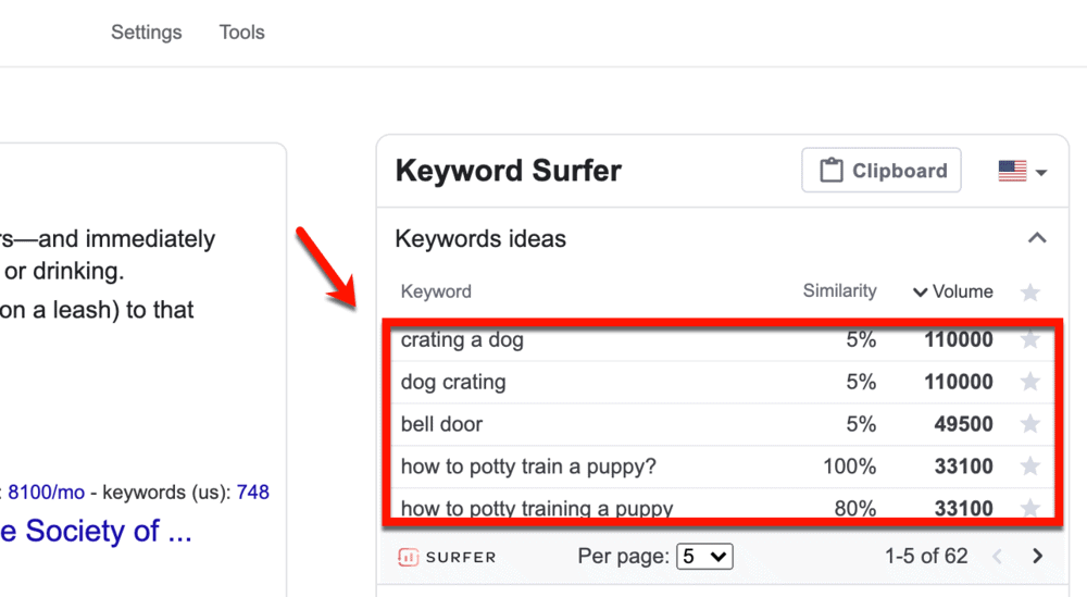 Keyword Surfer keyword ideas