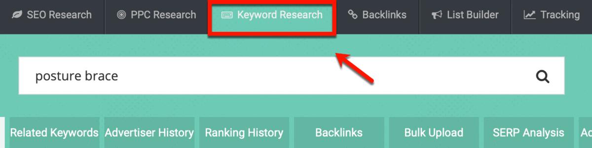 SpyFu Keyword Research Tab