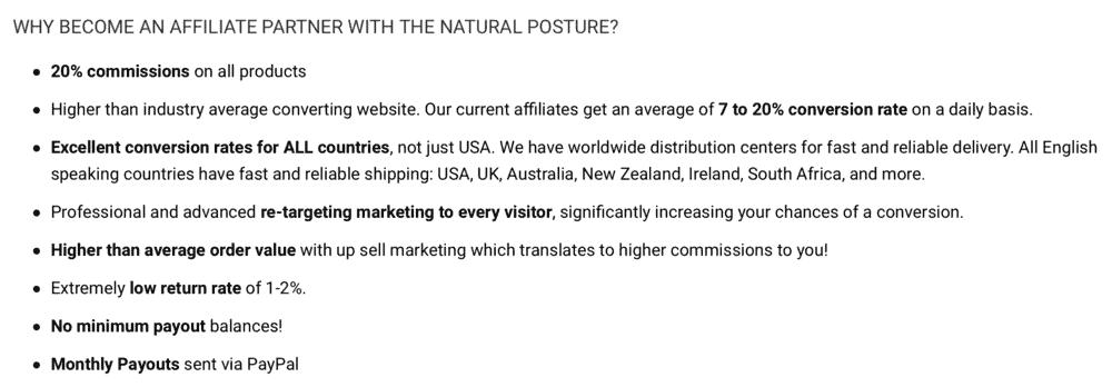 The Natural Posture Affiliate Program