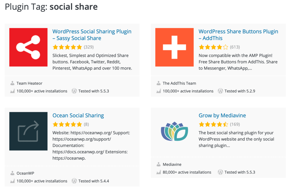 WordPress Social Sharing Plugins