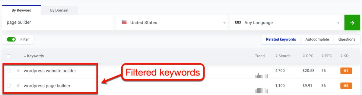 KWFinder Filtered Results