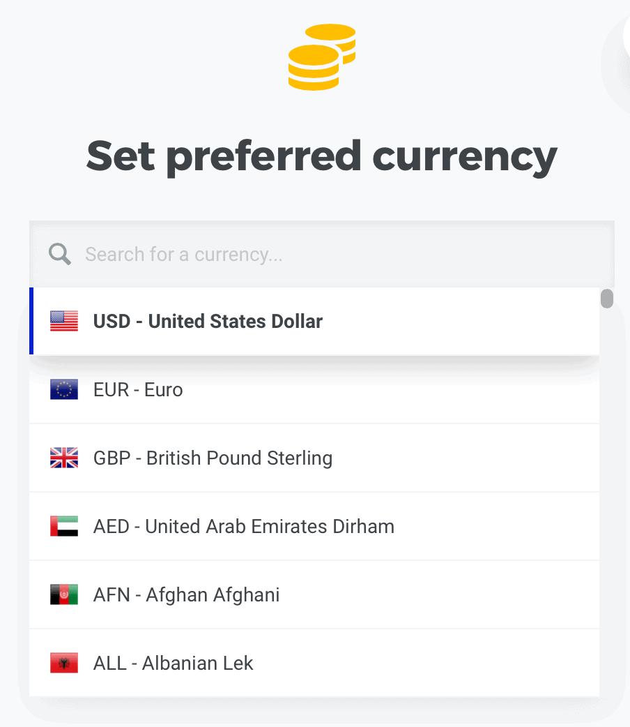 KWFinder Change Preferred Currency