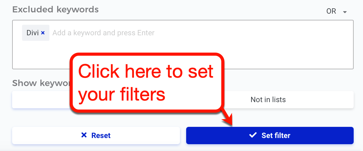 KWFinder Set Filter Button