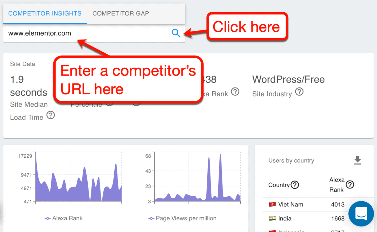 Competitor Insights URL Entered