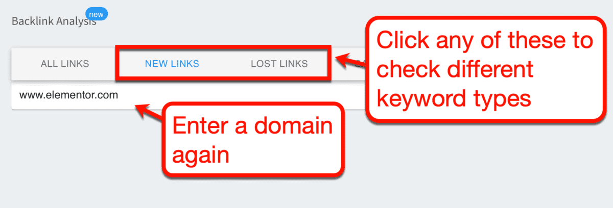 Keyword Revealer New and Lost Links