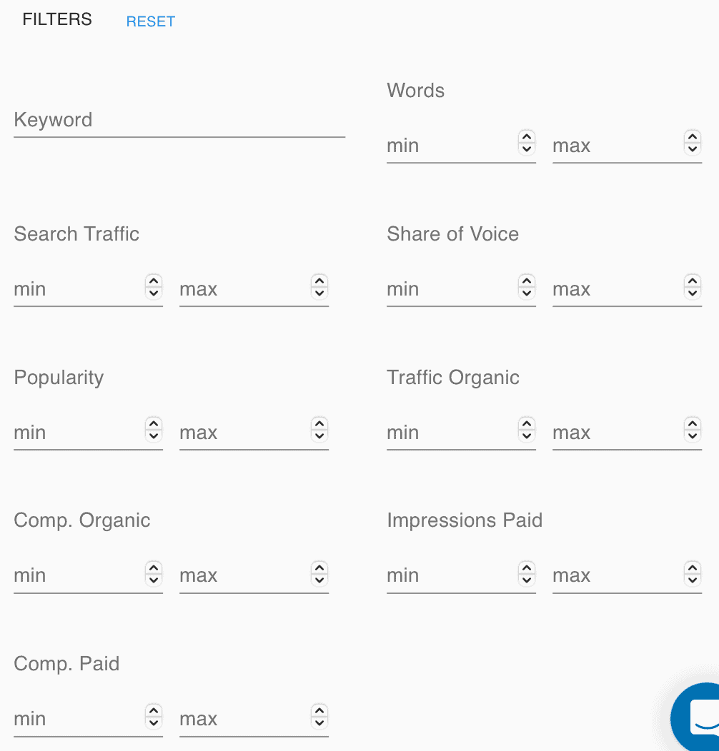 Keyword Revealer Competitor Keywords Filters