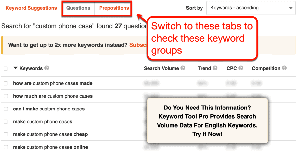 Keyword Tool Questions and Prepositions
