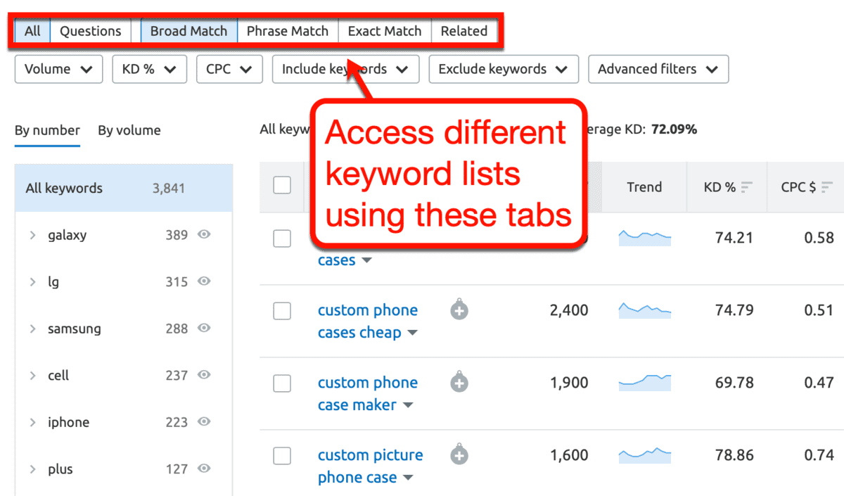 SEMrush Other Keyword Categories