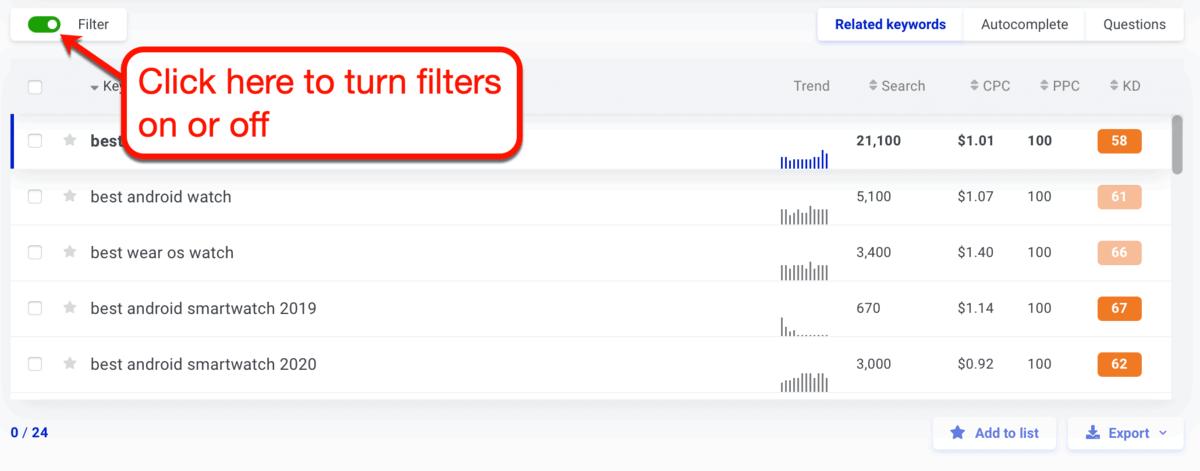 KWFinder Filter Toggle