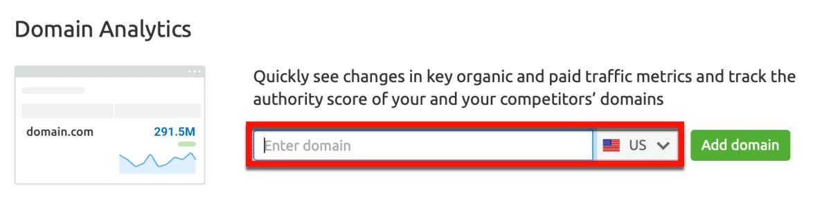 SEMrush Domain Analytics Add Domain
