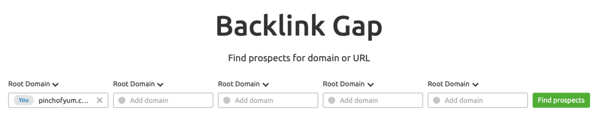 SEMrush Backlink Gap Tool