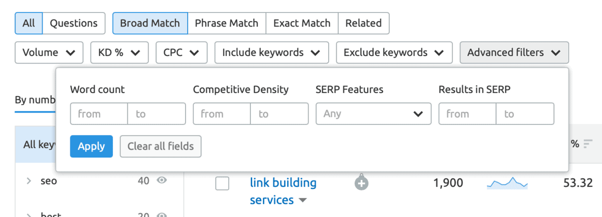 SEMrush Keyword Filters