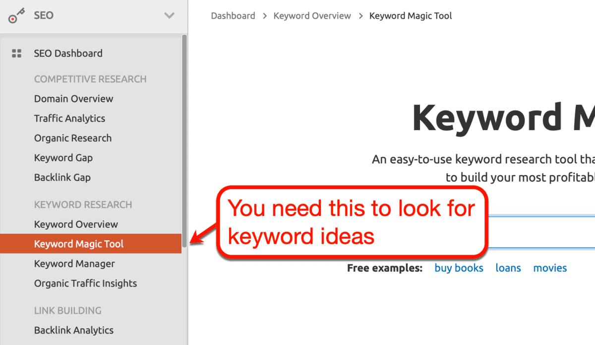 SEMrush Keyword Magic Tool Menu