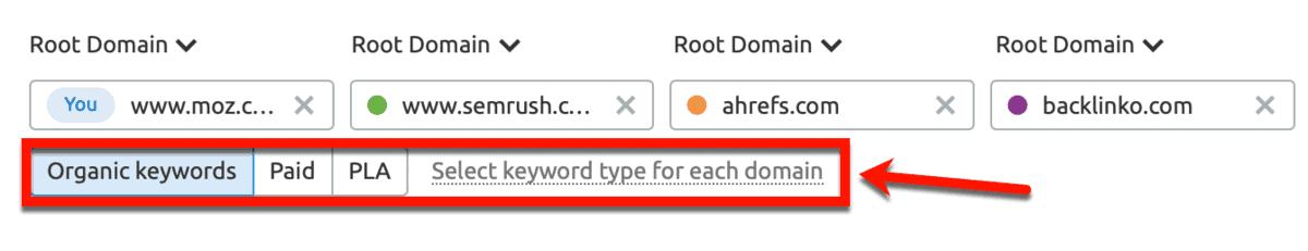 Keyword Gap Select Keyword Type