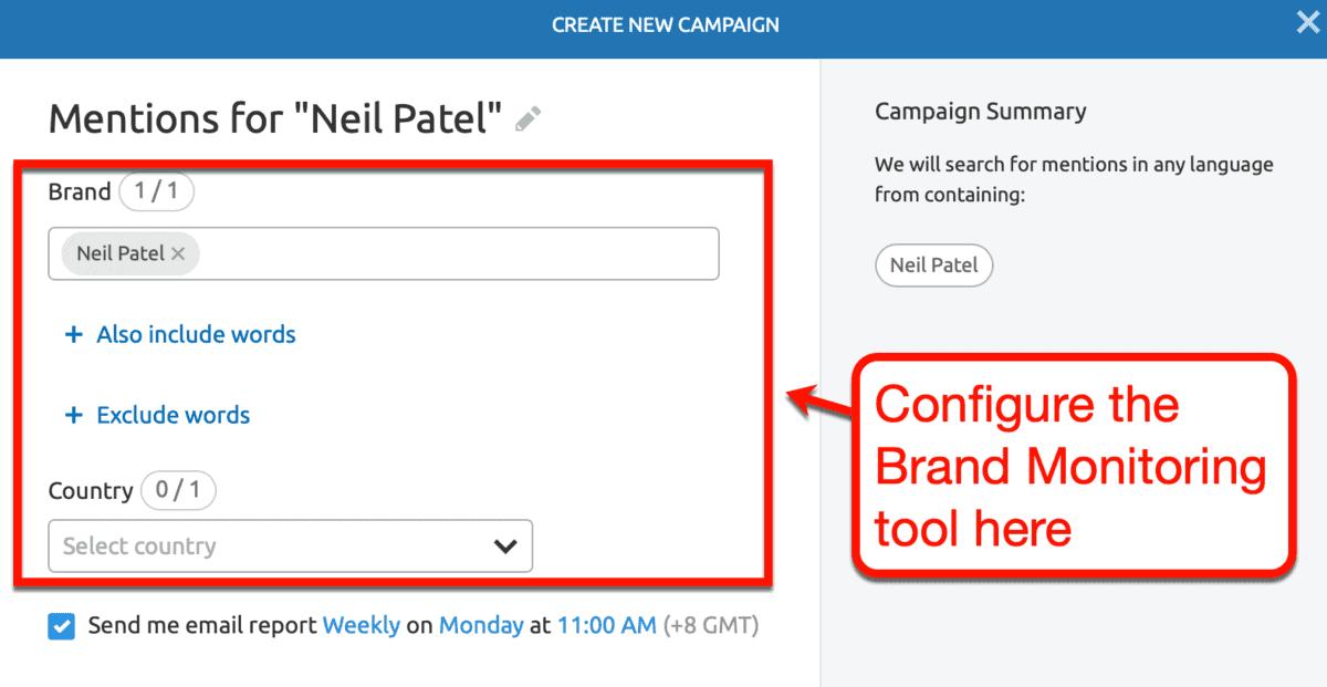 Brand Monitoring Tool Setup Page