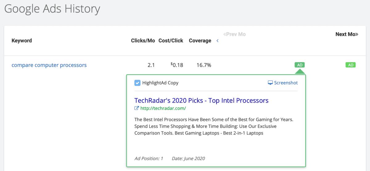 SpyFu Google Ads History
