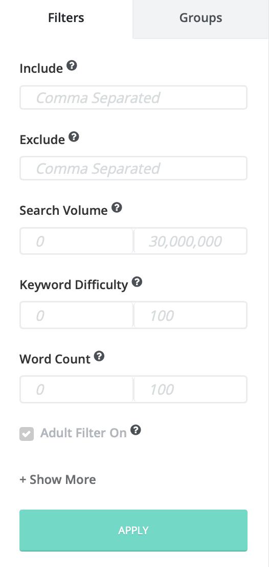 SpyFu Keyword Filters