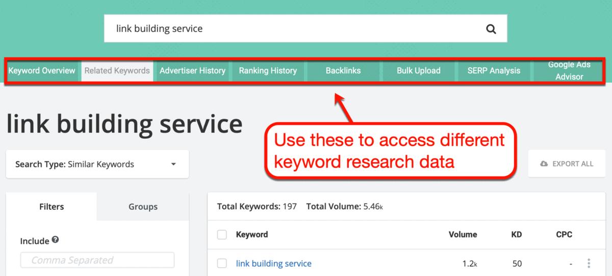 SpyFu Keyword Research Tabs