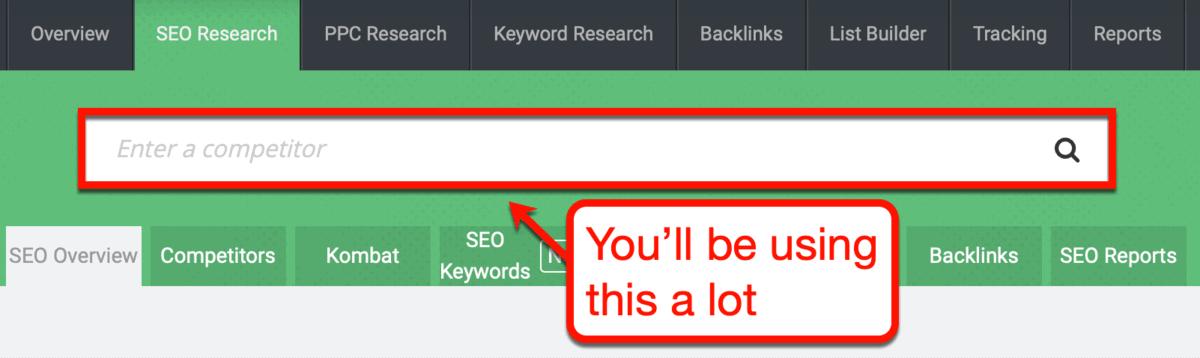 SpyFu Search Bar Interface