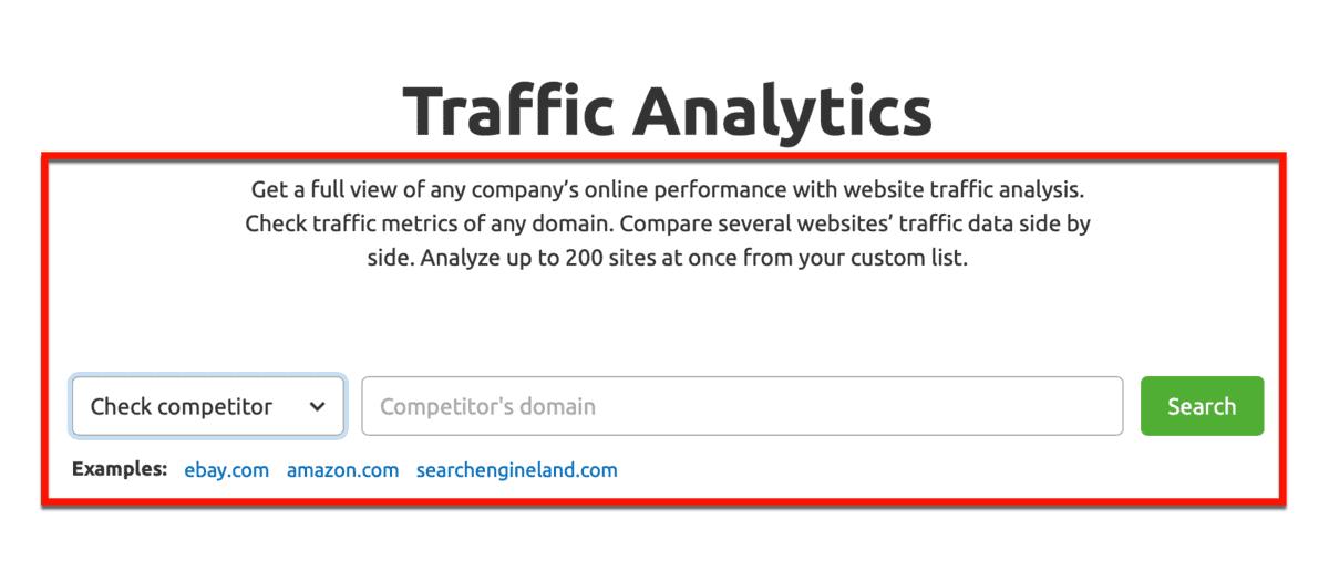 Traffic Analytics Description by SEMrush