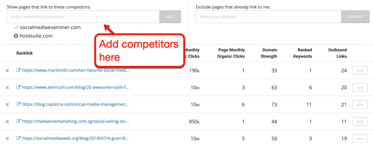 Backlinks Tool Add Competitors