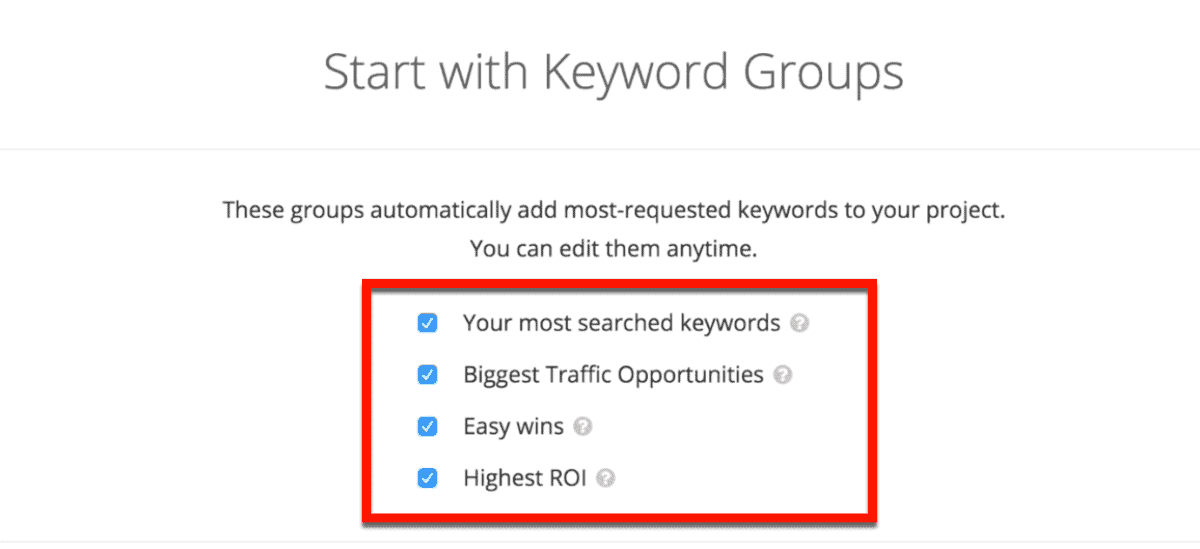Project Keyword Groups